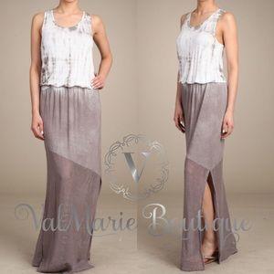 Tie dye mesh accent maxi dress